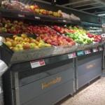 Fruktbord dubbel lutning grå med tryck överhylla